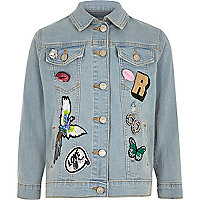Girls blue badged denim jacket