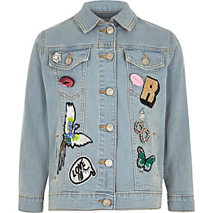 Girls blue badged denim jacket