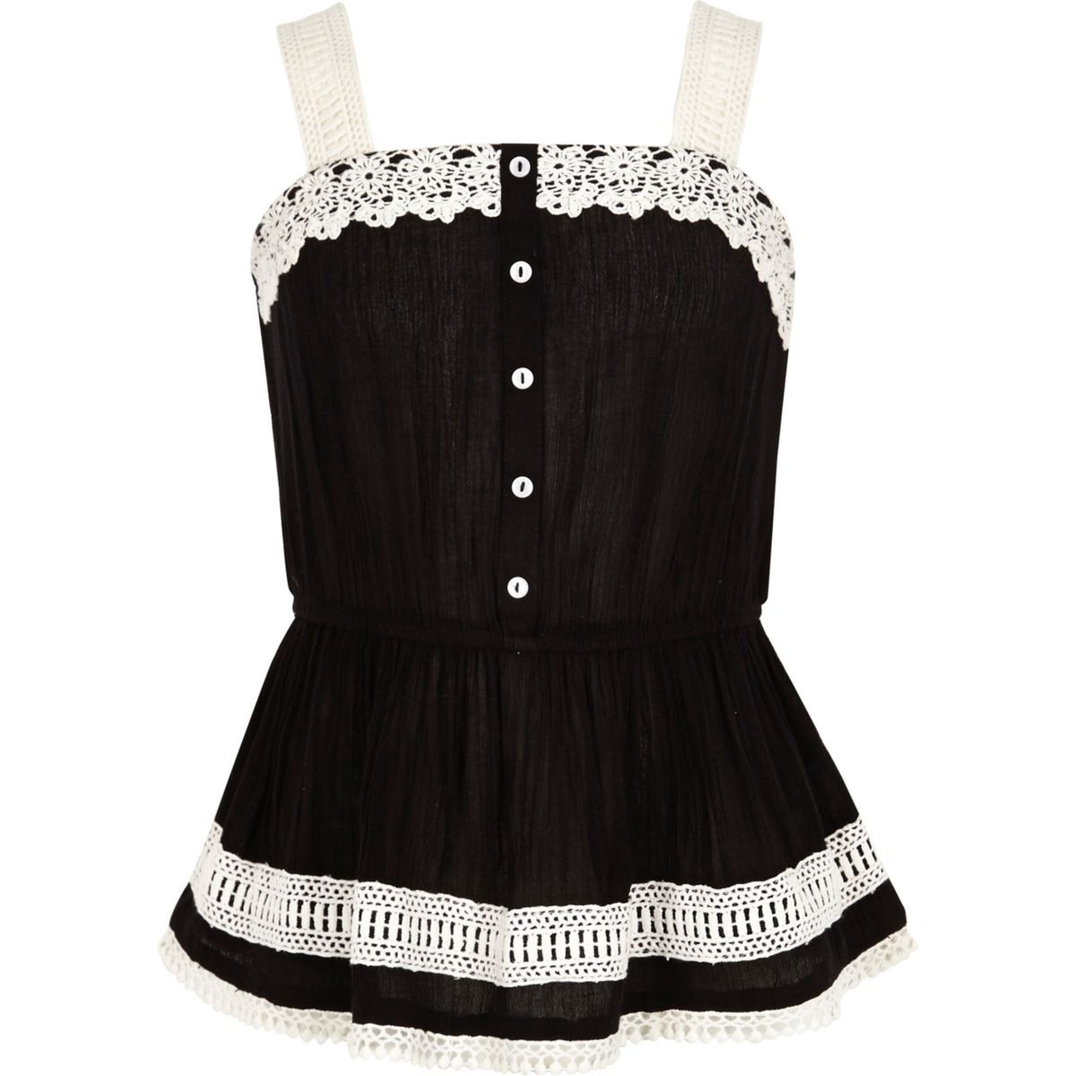 Girls black lace button-up cami top