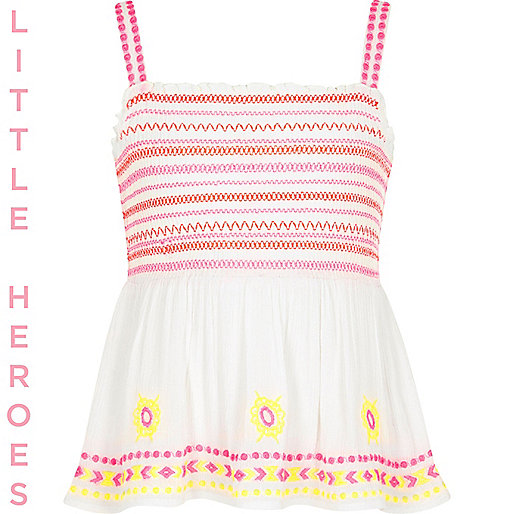 Girls white floral embroidered cami top