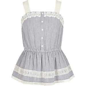 Girls blue stripe print lace cami top