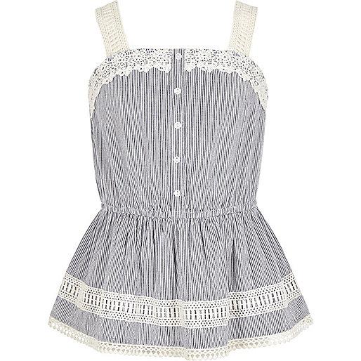 Girls blue stripe print lace cami top