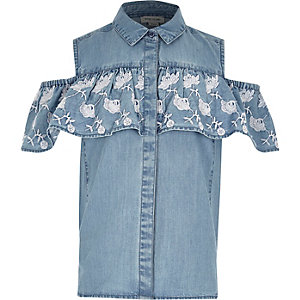 Girls blue denim cold shoulder frill shirt