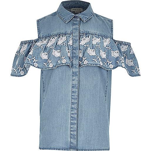Girls blue denim cold shoulder frill shirt