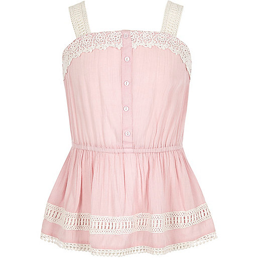 Girls pink lace button front cami top