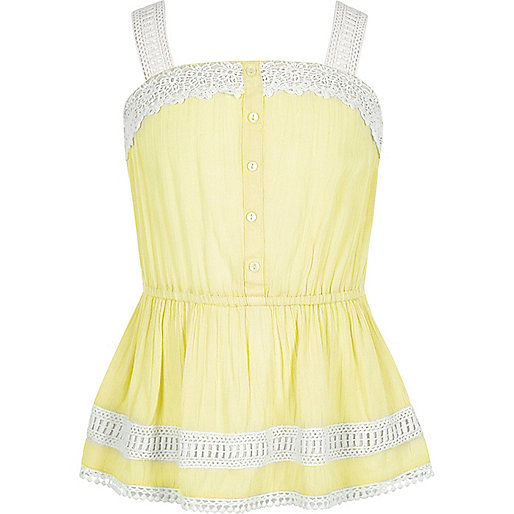 Girls yellow lace button-up cami top