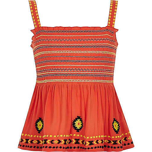 Girls coral shirred embroidered cami top