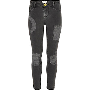 Girls black washed Molly ripped jeggings