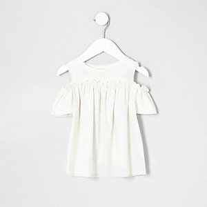 Mini girls gold glitter cold shoulder T-shirt