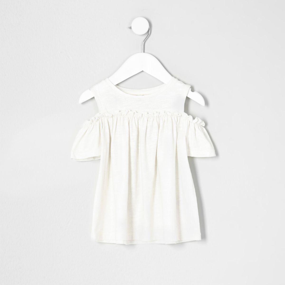 Mini girls gold glitter cold shoulder T-shirt
