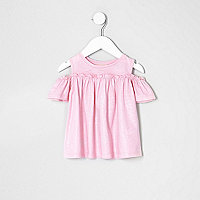 Mini girls pink glitter cold shoulder T-shirt