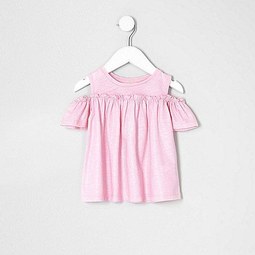 Mini girls pink glitter cold shoulder T-shirt