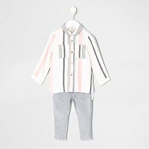 Mini girls white stripe shirt and jeggings