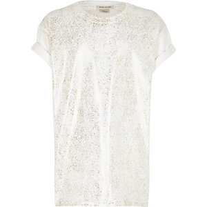 Girls white metallic print T-shirt