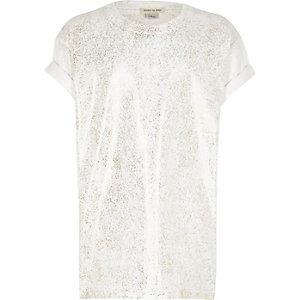 Wit T-shirt met metallic print voor meisjes