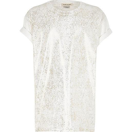 Girls white metallic print T-shirt