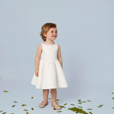 Mini Crèmekleurige jacquard jurk met versiering voor meisjes