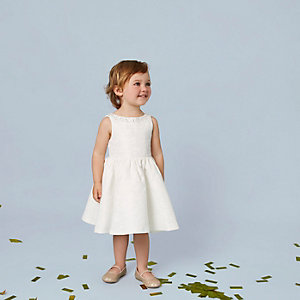Mini girls cream embellished jacquard dress