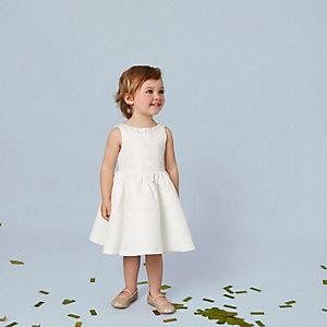 Robe en jacquard crème ornée mini fille