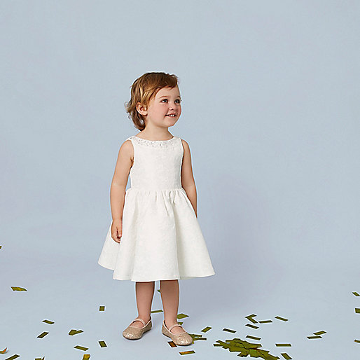 Mini girls cream embellished jacquard dress