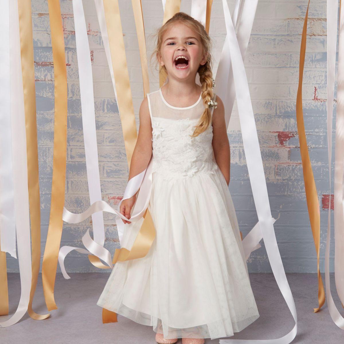Mini girls cream floral sleeveless dress