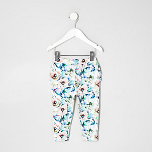 Mini girls white floral ruffle leggings