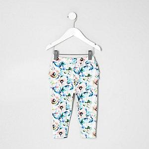 Mini girls white floral ruffle leggings