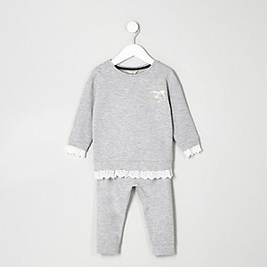 Ensemble avec sweat gris bordé de dentelle mini fille