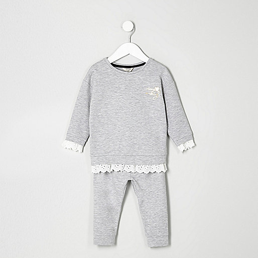 Mini girls grey lace hem sweatshirt outfit