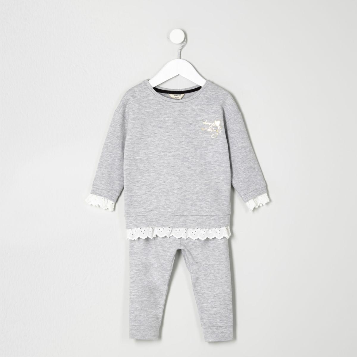 Mini girls grey lace hem sweatshirt outfit