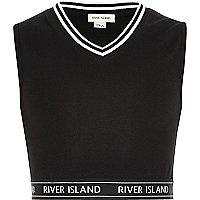 Girls black tipped sleeveless crop top