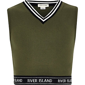 Girls khaki tipped sleeveless crop top