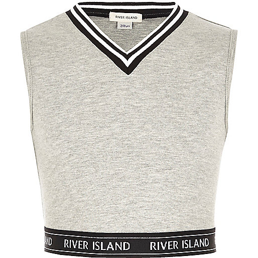 Girls grey tipped sleeveless crop top