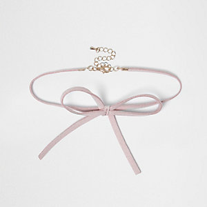 Girls pink choker bow