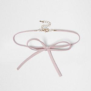 Roze chokerketting met strik voor meisjes