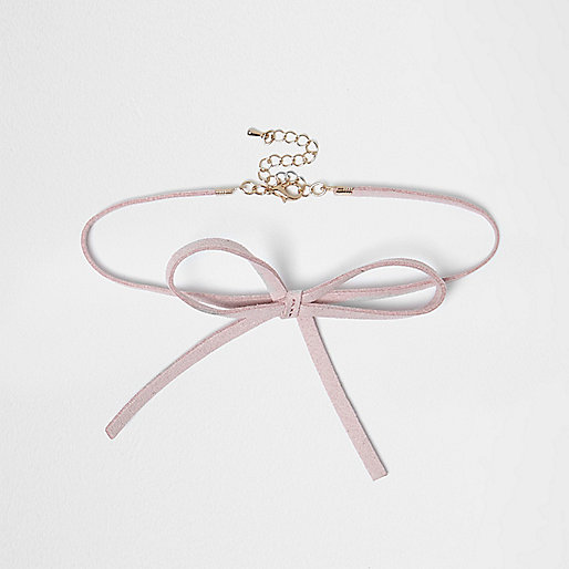 Girls pink choker bow