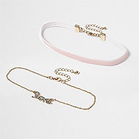 Girls pink love choker multipack