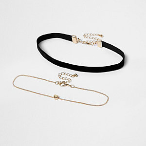 Girls black and heart choker multipack