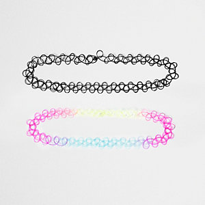 Girls black '90s tattoo choker pack