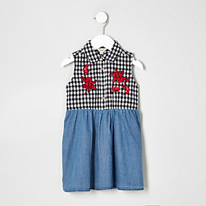 Mini girls blue gingham denim dress