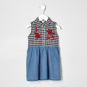 Robe en jean à carreaux vichy bleue pour mini fille