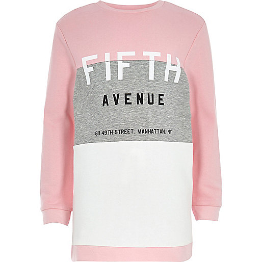 Girls pink Fifth Avenue longline sweatshirt
