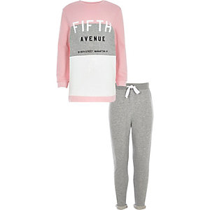 Ensemble avec sweat Fifth Avenue gris et rose