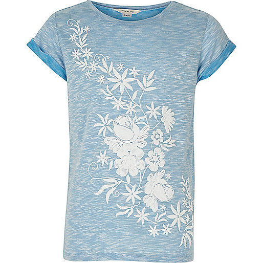 Girls pale blue floral roll sleeve T-shirt