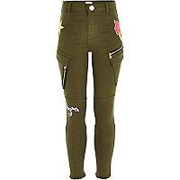 Girls khaki green badged utility trousers