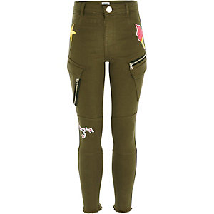 Girls khaki green badged utility pants