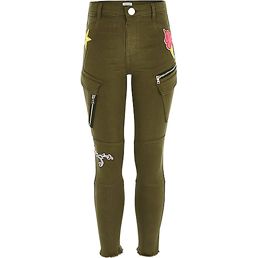 Girls khaki green badged utility trousers