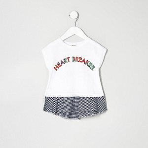 T-shirt péplum à carreaux vichy blanc pour mini fille
