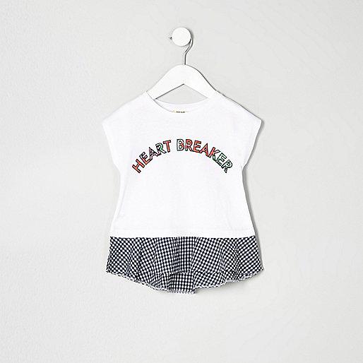 Mini girls white gingham print peplum T-shirt