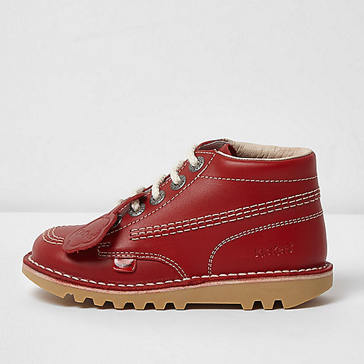Girls red Kickers lace-up boots